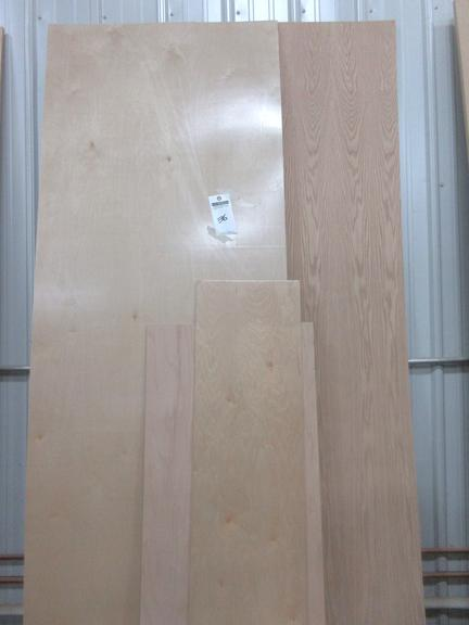 "Assorted Sheets of 1/4"" Plywood, Oak and Birch, Finished and Unfinished"