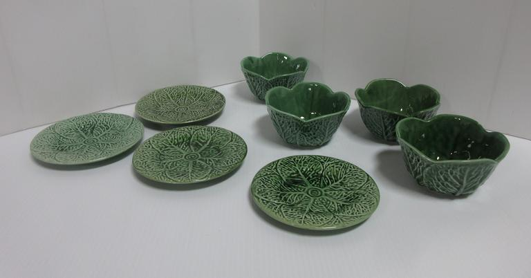 (4) Green Bowls with Underplates
