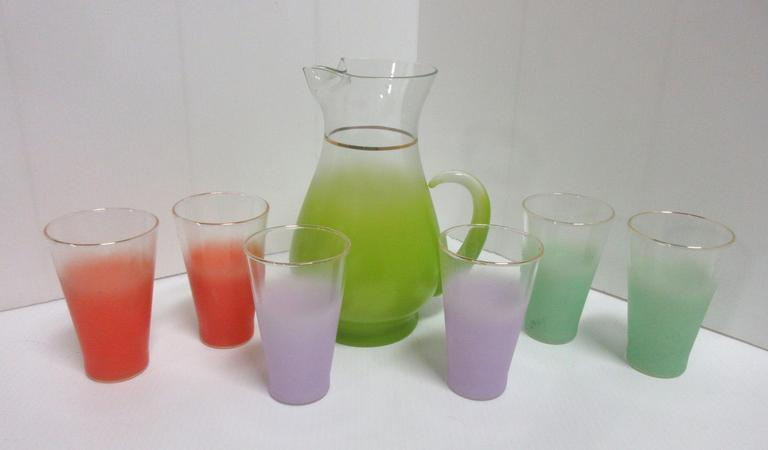 Pastel Pitcher with Gold Trim and (6) Glasses