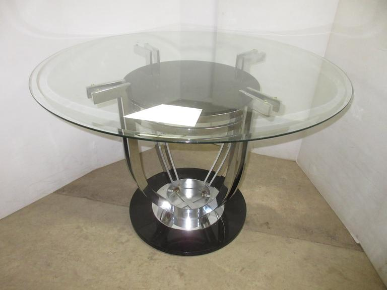 Glass Top Table with Black and Chrome Base