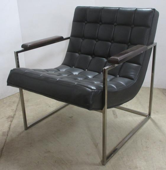 Contemporary Modern Imitation Leather with Metal Frame Sitting Chair with Wood Armrests, Made by Thayer Coggin, Matches Lot. No. 41