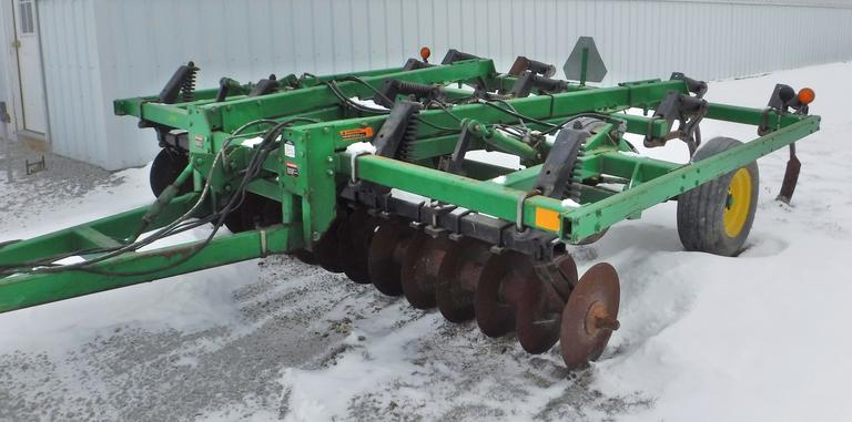 "John Deere 714 13-Shank Mulch Tiller / Chisel Plow, Serial No. N00714X005323, 12' Wide, Walking Tandems, Front Discs Measure 19"" at 9"" on Center, Low Use, Always Housed, Farmer Retiring"
