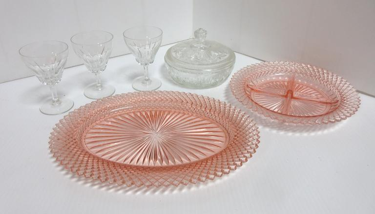 "(2) Pink Serving Platters, 8 3/4""Dia and 12 1/4""W; Clear Avon Covered Dish, 5 3/4""Dia; (3) Sherry Glasses, 4 1/2""H"