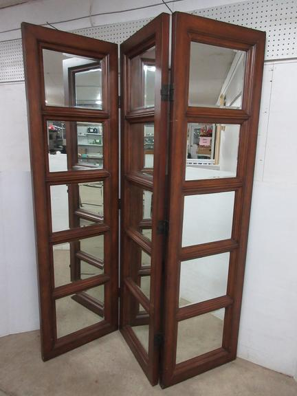 Wood Mirror Room Divider