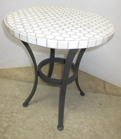 White Tile Topped Wrought Iron Based Crate and Barrel End Table, Well Made