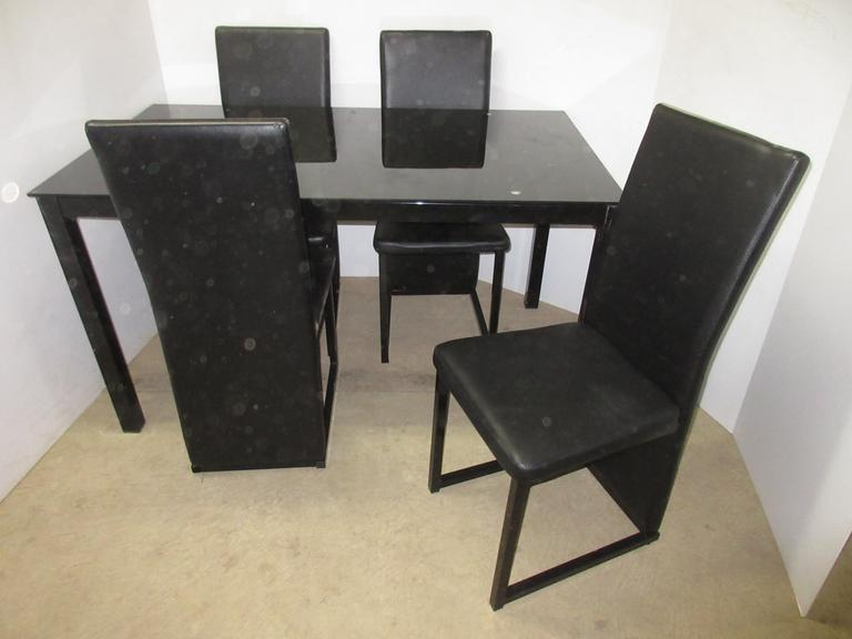 Kitchen Table Set with Metal Frame and Glass Top Table and (4) Chairs