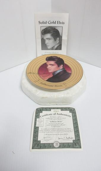 Elvis Jailhouse Rock Collectors Plate with Certificate of Authenticity No. 12412E, From the Solid Gold Series