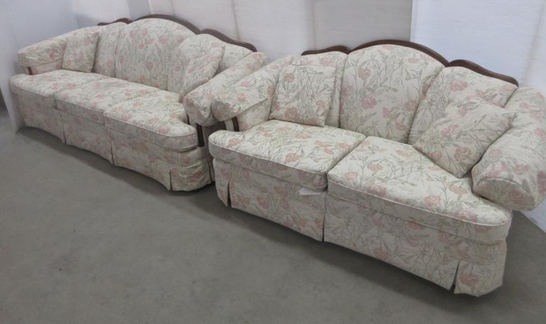 Skylar Canada Royal Couch and Love Sofa with Wood Trim and Floral Stitching