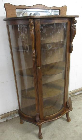 China Cabinet, Has Curved Glass Front and Lions Head, Key in Door