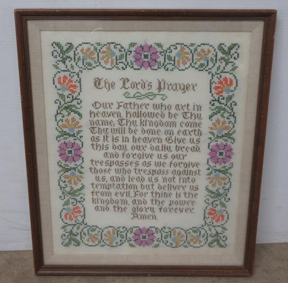 Hand Embroidered Lord's Prayer Sampler
