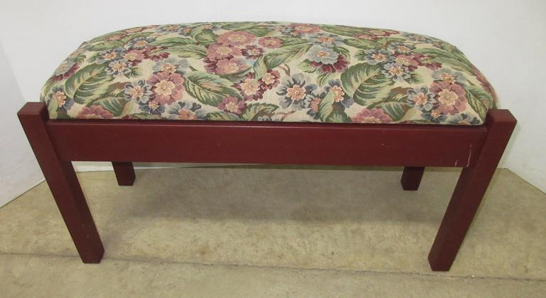 Burgundy/Floral Padded Sitting Bench with Flip Top Storage Area