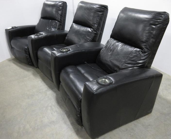 "All Black Leather ""U"" Shaped Power Reclining Lighting Theater Style Couch with Cup Holders, Divides Into Five Pieces for Transport"