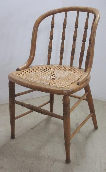 Oak Bent Wood Chair with Cane Seat