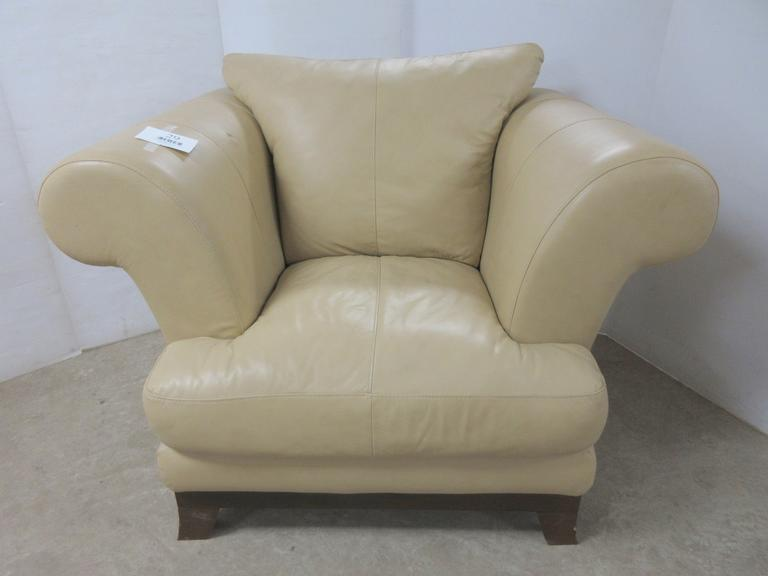 Leather Chair with Cushion, Matches Lot No. 28