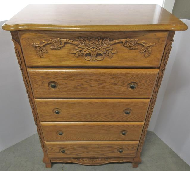 Oak Dresser with Mirror Top and Jewelry Case