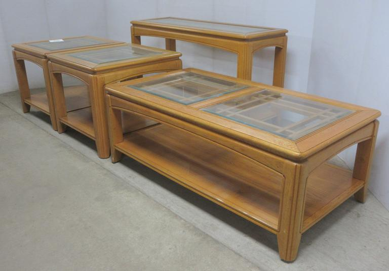 Set of (4) Light Oak Living Room Coffee Tables with Glass Tops