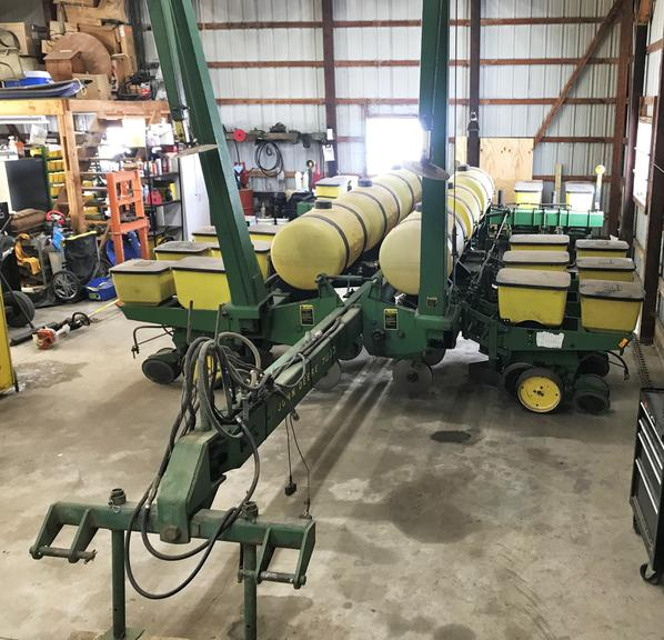 "1981 John Deere 7000 12 Row Liquid Fertilizer Front Fold Non-Flex Planter, Currently Set on 28"" Rows but Can Move Back Out to 30"" Rows at the Request of the New Owner, Comes with Deere Finger Pick-Up Corn Meters and Kinze Brush Meters for Beans, Has the Black Box Population Monitor and Updated 3-Eye High Rate Seed Sensors with Weather Pack Connectors, All New Shoup Poly Seed Boxes and Lids in 2014, Less than 300 Acres on Fertilizer Openers and Scrapers, It has a Squeeze Pump for the Fertilize..."
