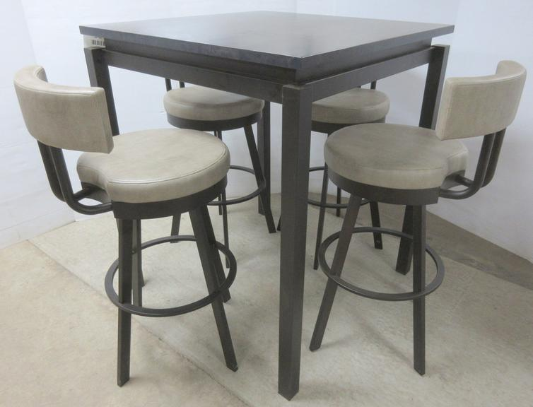 Bar Style Pub Table with Metal Legs, Solid Wood Top Dark Color, (4) Bar Stools with Leather Type Cushions