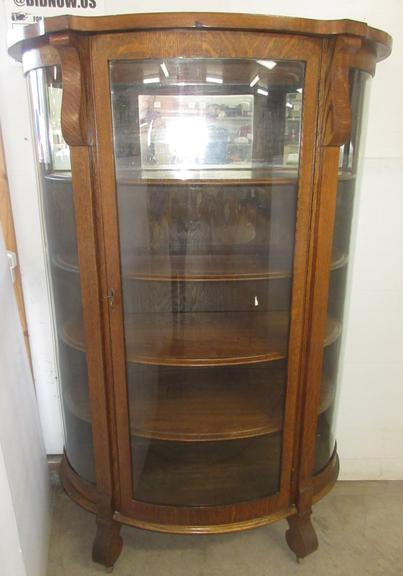 Curved Front Oak China Cabinet with Five Shelves, Top Shelf is Mirrored, Has Three Glass Panes
