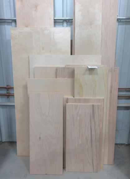 "Assorted Sheets of 3/4"" Oak and Birch Plywood, Some Finished and Unfinished"