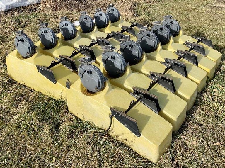 (12) Rows of John Deere 3-Bushel Fiberglass Seed Hoppers with Lids and John Deere Vacuum Meters, No Plates