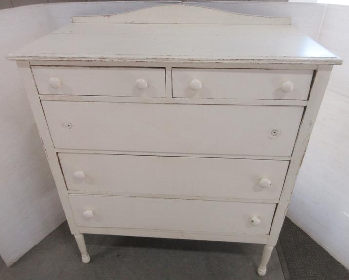 Antique White Dresser with Small Backboard