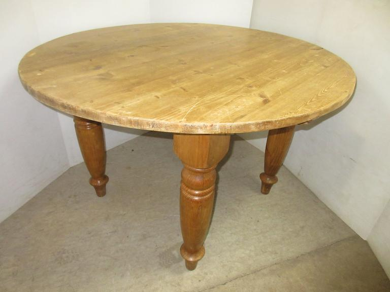 All Pine Wooden Hand Constructed Round Dining Room Table, Well Made, Heavy Duty