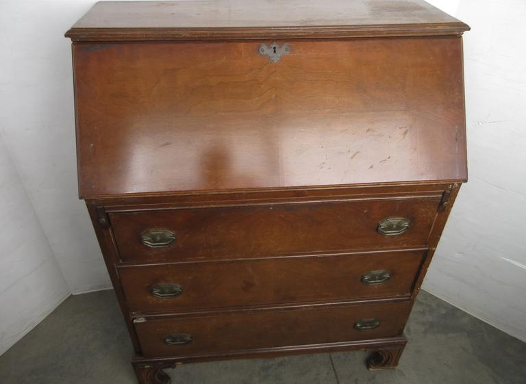 Antique Three-Drawer Secretary Desk