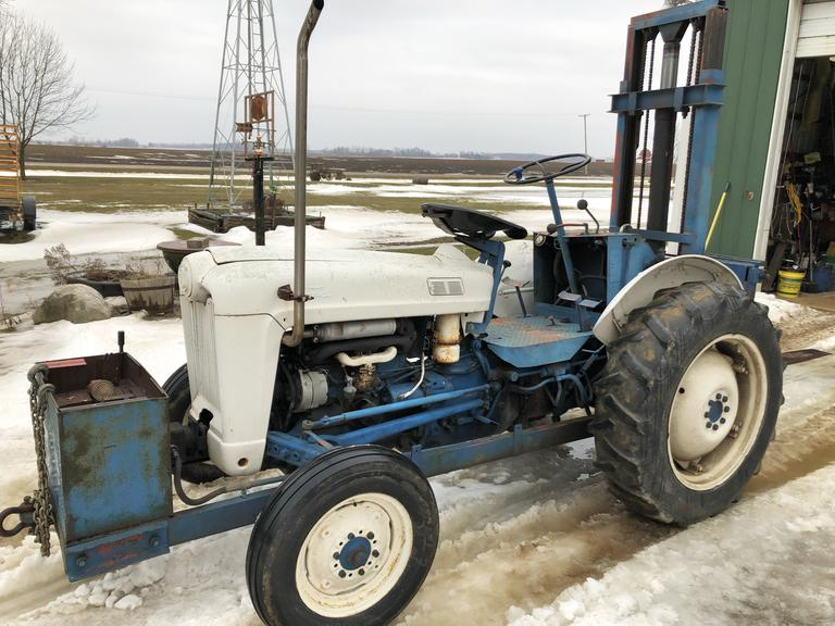1955 Ford 630 Tractor with Sherman Fork Lift Conversion, 4000 lbs. Lift Capacity, 12 Volt Conversion, Runs and Operates Well