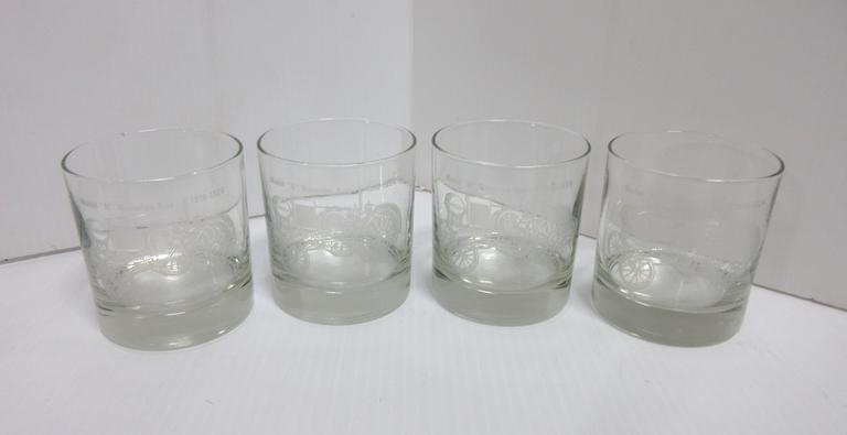 "(4) Waterloo Boy Collectible Whiskey Glasses with Engraved Image of Model ""N"""