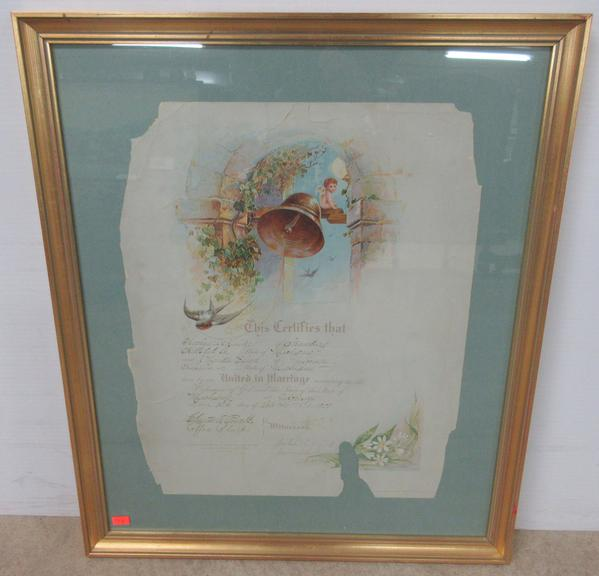 Framed Marriage Certificate from 1900