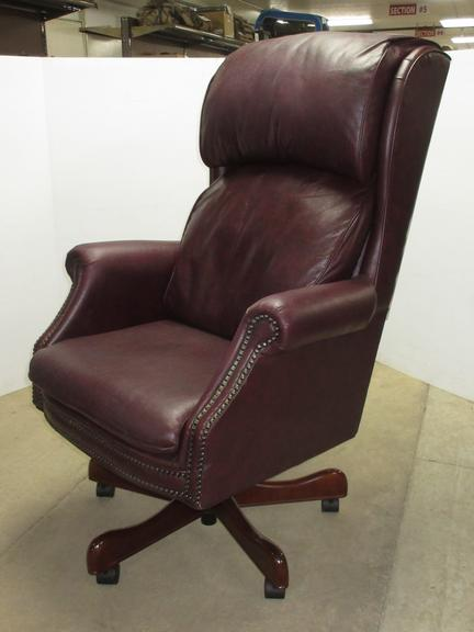 Luxury High Back Crimson Leather Executive Chair, Adjustable with Wood Base Trim, Made in USA, Seller States Original Purchase Price was Over $1,000