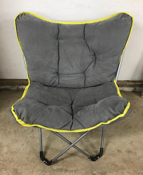 Gray and Neon Green Butterfly Chair on Frame