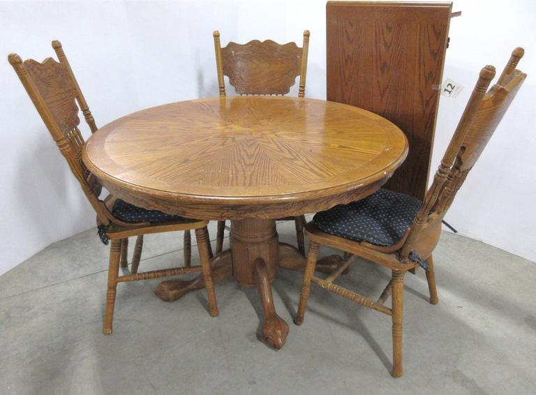 Solid Wood Table and (3) Chairs with Seat Cushions