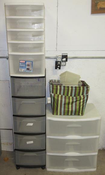 (2) Five-Drawer Organizers, Three-Drawer Organizer, and Misc. Bins