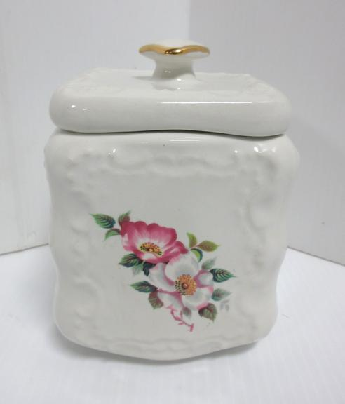 Small White Cookie Jar with Pink Flowers, Illegible Mark on Bottom