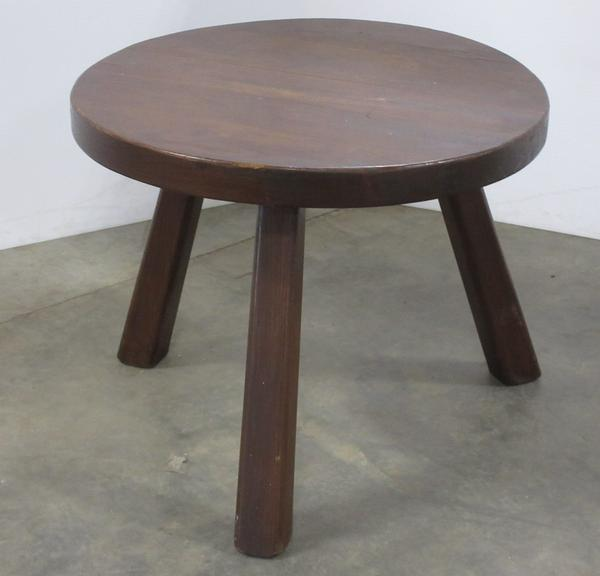Wood Three-Legged End Table or Large Milk Stool