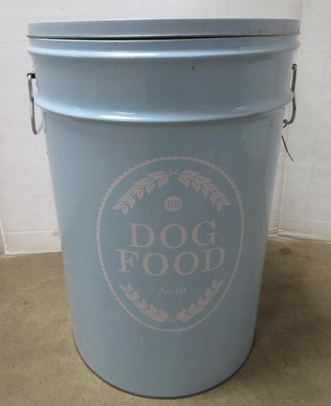 Albrecht Auctions   Metal Dog Food Container