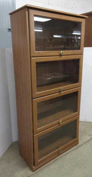 Wood Grain Banister Cabinet with Four Glass Sections
