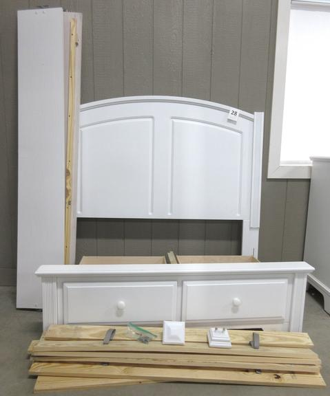 Full Size White Bed with Pull Out Drawers, Matches Lot Nos. 26 and 27