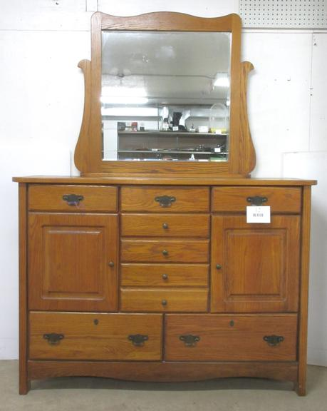 "Mission Style Dresser with Mirror, Has ""No Slam"" Drawers for Lasting Durability, Matches Lot No. 11"