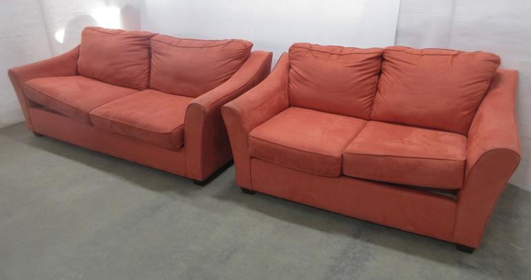 Salmon Colored Microfiber Couch and Loveseat