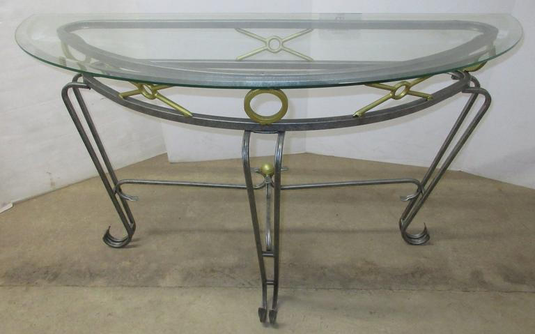 Half Moon Shape Metal Table with Glass Top