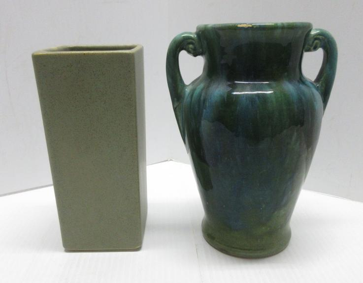 Floraline Vase, USA-447, No Chips; Green Greek Vase, Bottom Mark, Wear on Handles