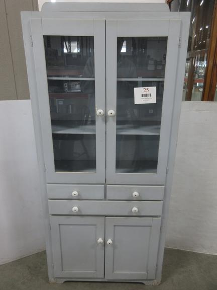 1940s Era Blue Cabinet with Glass Doors on Top, Five Shelves, and Three-Drawers