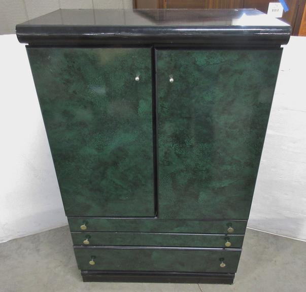 Black and Green Dresser with a Pop-Up Top and Mirror