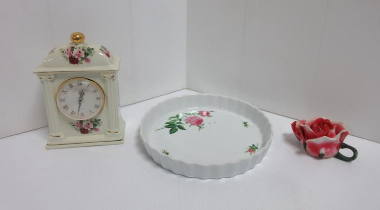 Rose Clock, Decanter Cup, and Rose Serving Dish