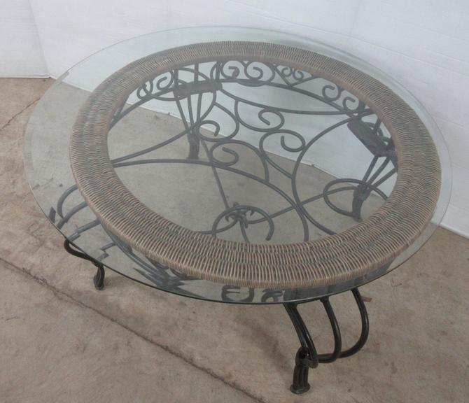 Glass-Top Coffee Table with Heavy Metal Base