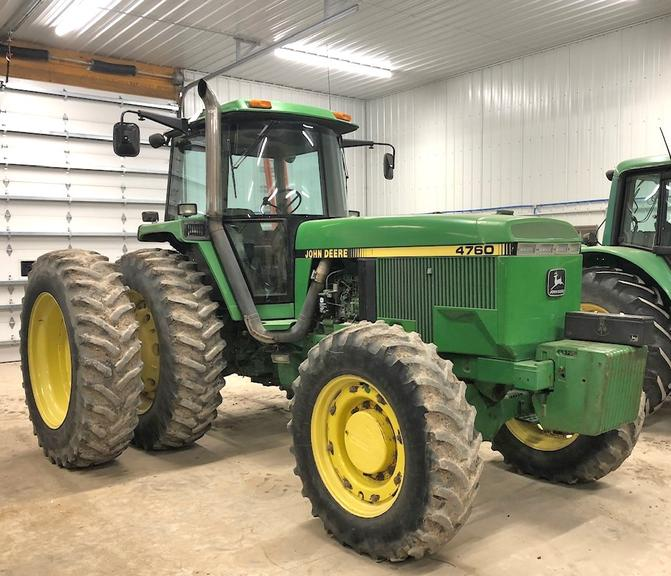 John Deere 4760 Tractor, (9061 Hours), 18.4x42 Rears at 75% Tread, Duals at 45%, 12-Front Weights, Cast Rear Weights, 3-Point with Quick Hitch, Hammer Strap Drawbar, Clean, Well Maintained, Everything Works, Replacing Tractor Due to Need for More HP
