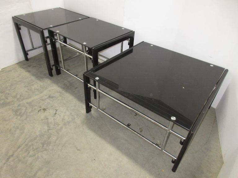 "Glass Coffee Table, 36""W x 36""D x 18""H; (2) Glass End Tables, 26""W x 24""D x 23""H"
